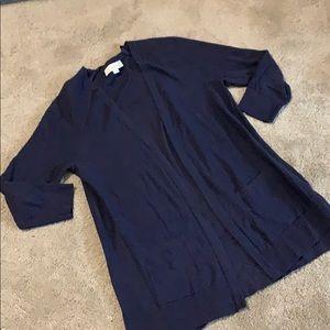 Long sweater. Blue w pockets loft xsmall